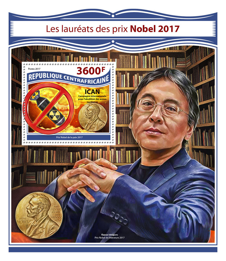 Nobel Prize 2017 - Issue of Central African republic postage stamps