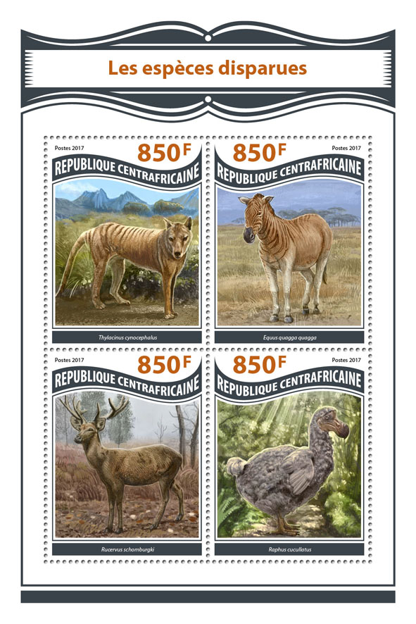 Extinct species - Issue of Central African republic postage stamps