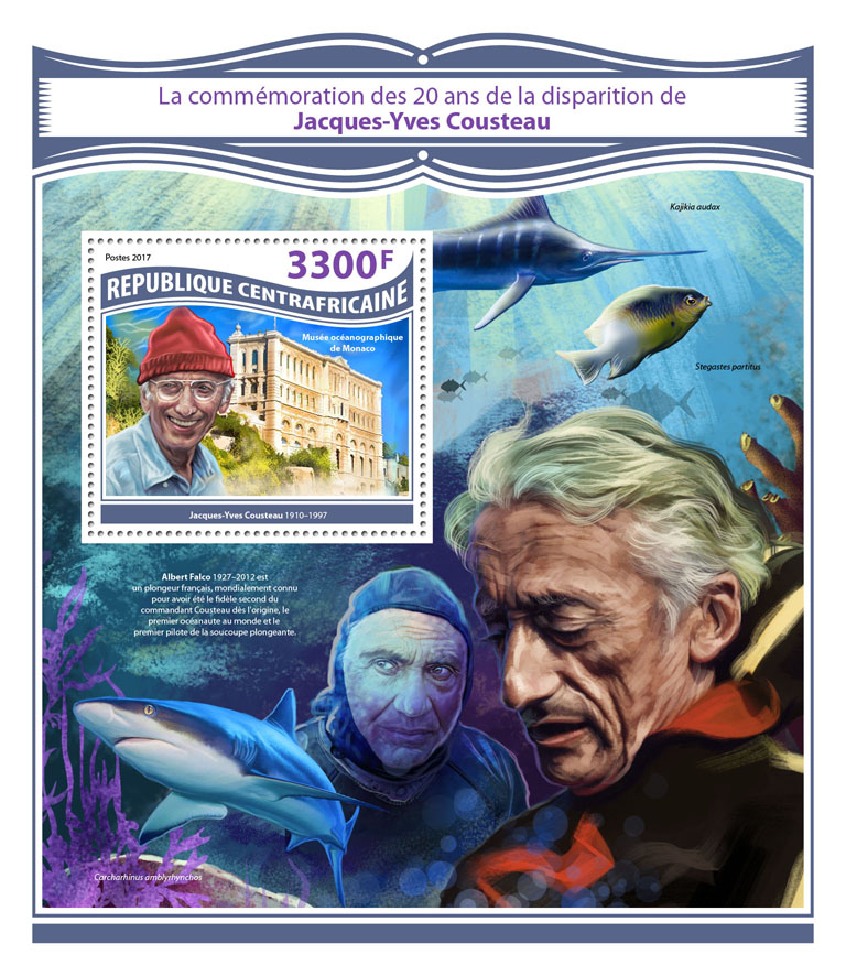 Jacques-Yves Cousteau - Issue of Central African republic postage stamps