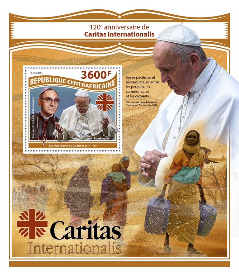 Caritas Internationalis - Issue of Central African republic postage stamps
