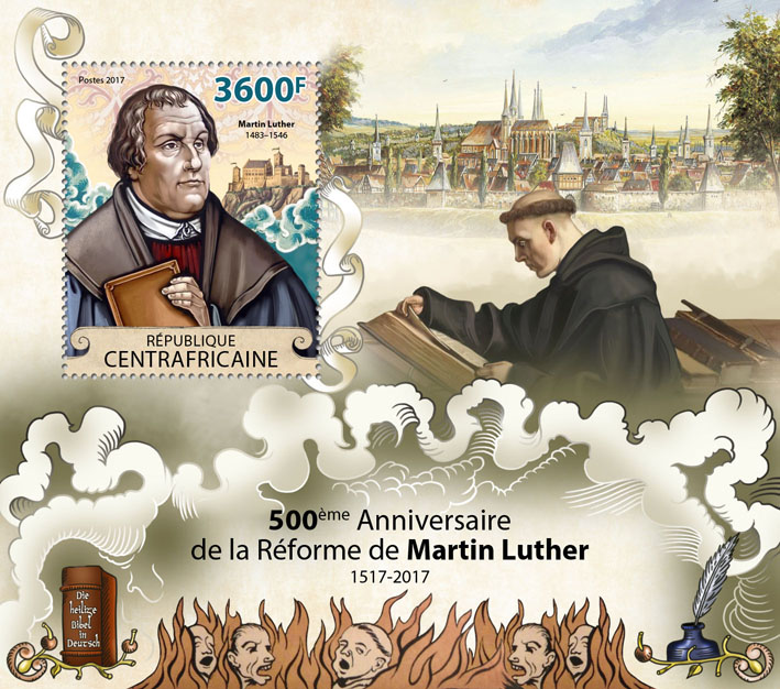 Reformation of Martin Luther - Issue of Central African republic postage stamps