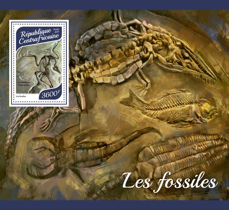 Fossils - Issue of Central African republic postage stamps