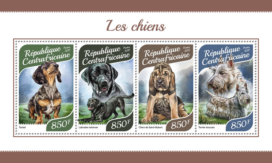 Dogs - Issue of Central African republic postage stamps