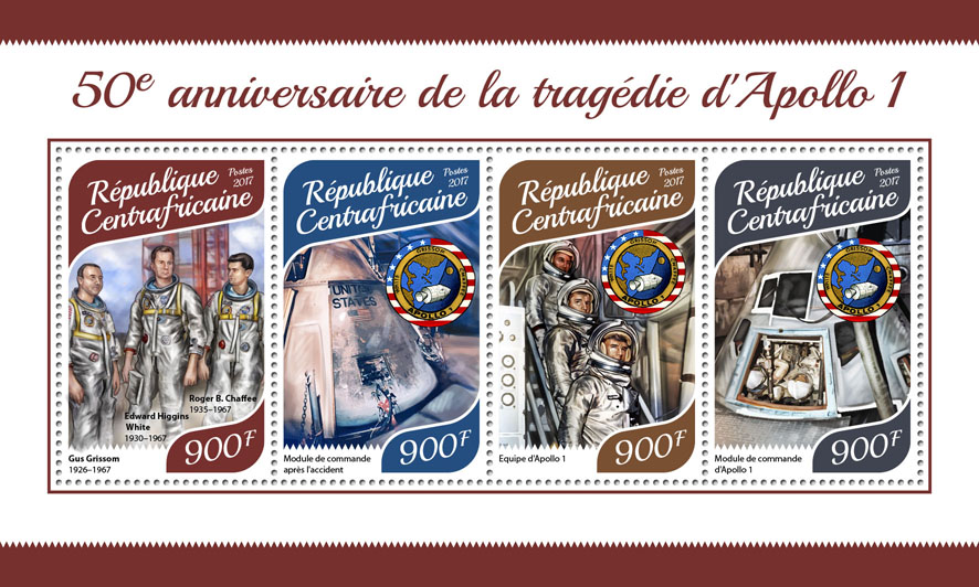 Apollo 1 - Issue of Central African republic postage stamps