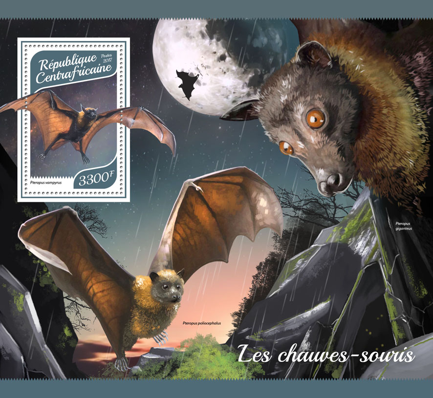 Bats - Issue of Central African republic postage stamps