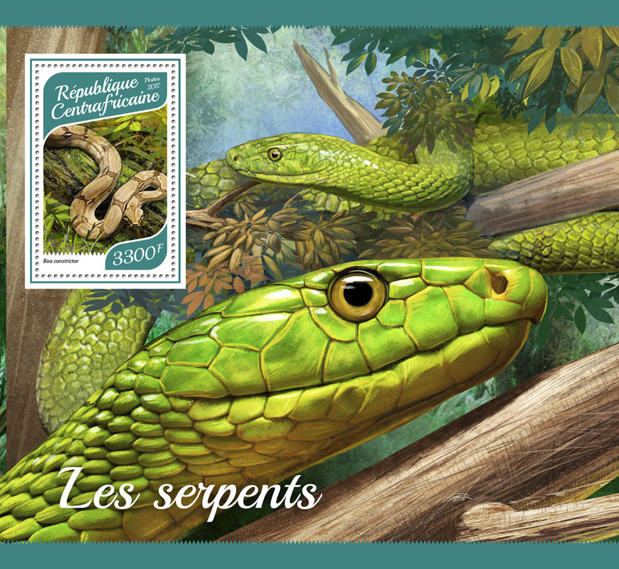 Snakes - Issue of Central African republic postage stamps