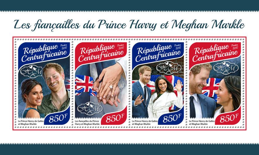 Prince Harry and Meghan Markle - Issue of Central African republic postage stamps