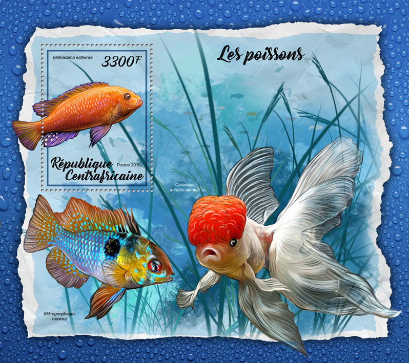 Fishes - Issue of Central African republic postage stamps