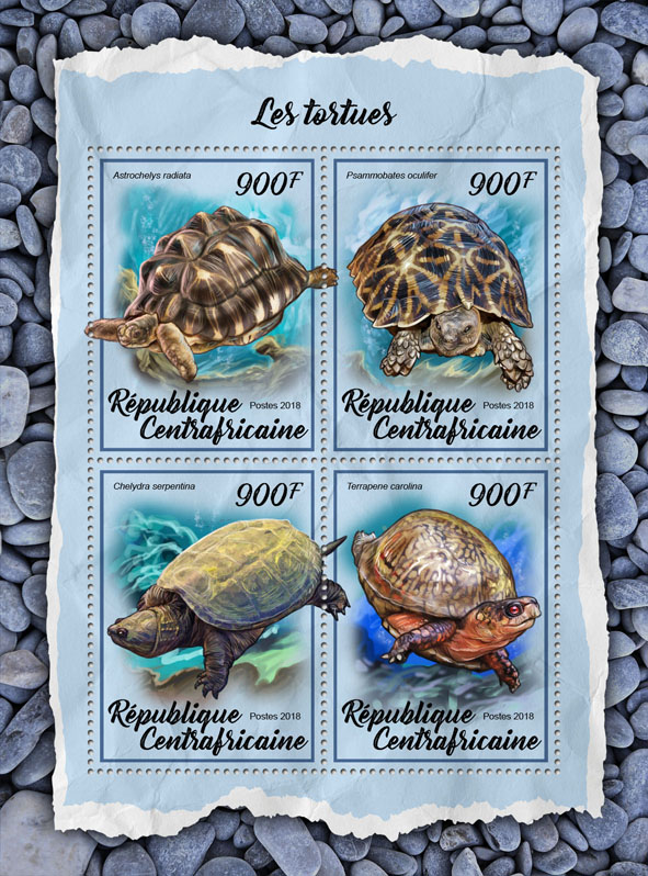 Turtles - Issue of Central African republic postage stamps