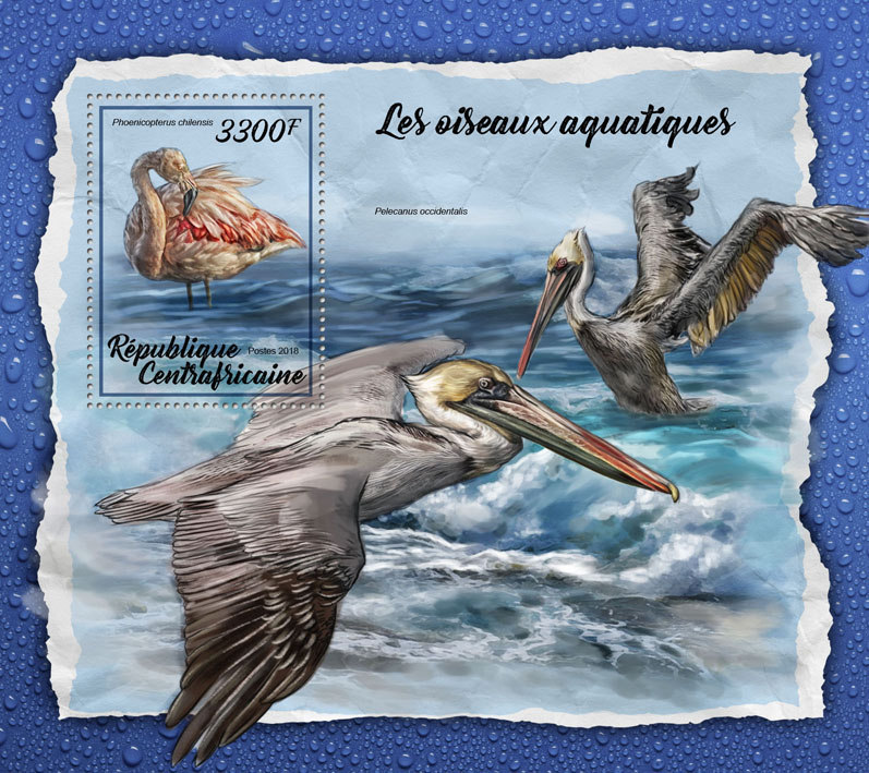 Water birds - Issue of Central African republic postage stamps
