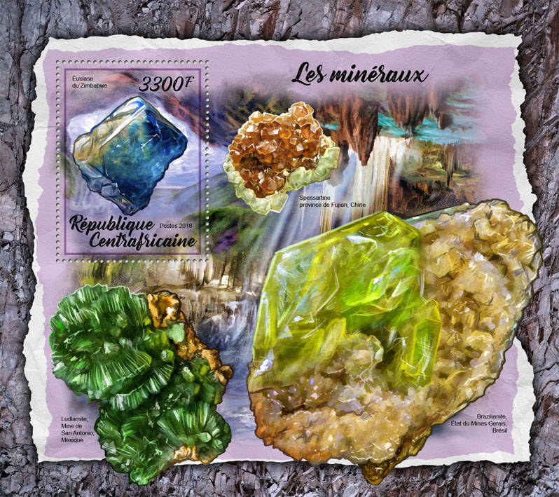 Minerals - Issue of Central African republic postage stamps