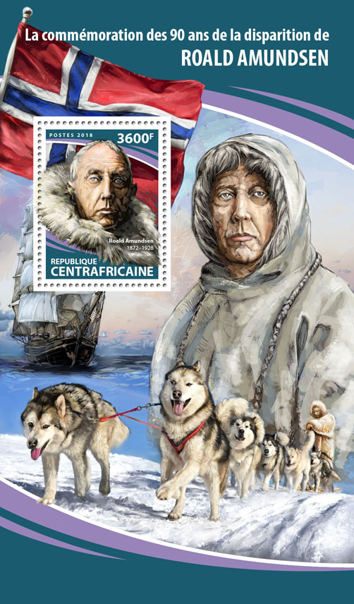 Roald Amundsen - Issue of Central African republic postage stamps