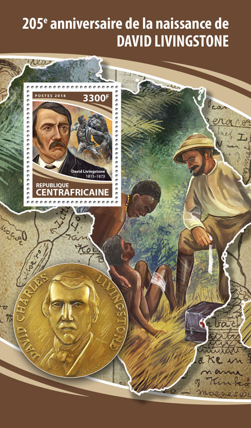 David Livingstone - Issue of Central African republic postage stamps