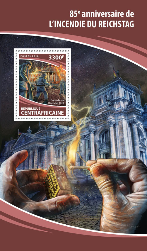 Reichstag fire - Issue of Central African republic postage stamps