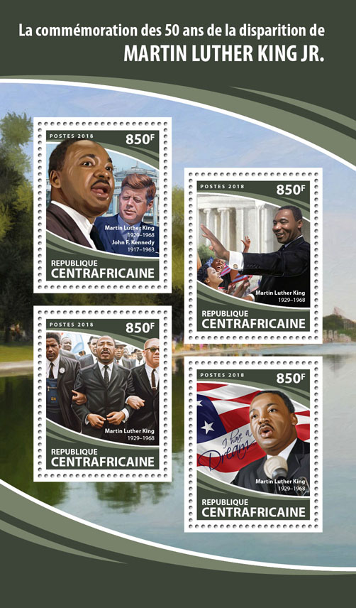 Martin Luther King Jr. - Issue of Central African republic postage stamps