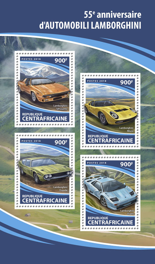 Lamborghini - Issue of Central African republic postage stamps
