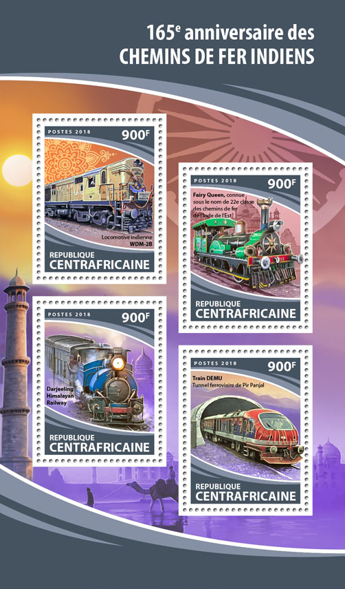 Indian Railways - Issue of Central African republic postage stamps