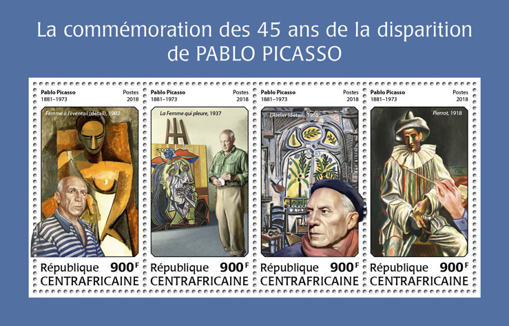Pablo Picasso - Issue of Central African republic postage stamps