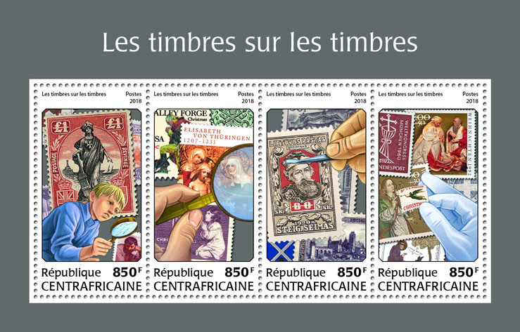 Stamps on stamps - Issue of Central African republic postage stamps