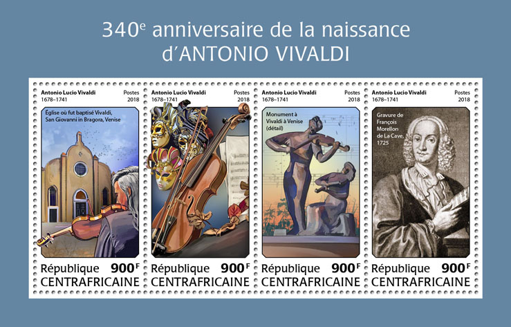 Antonio Vivaldi - Issue of Central African republic postage stamps
