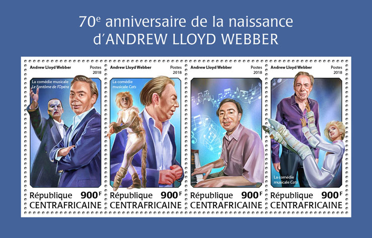 Andrew Lloyd Webber - Issue of Central African republic postage stamps