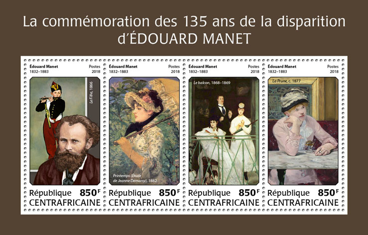 Edouard Manet - Issue of Central African republic postage stamps