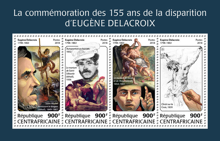 Eugene Delacroix - Issue of Central African republic postage stamps
