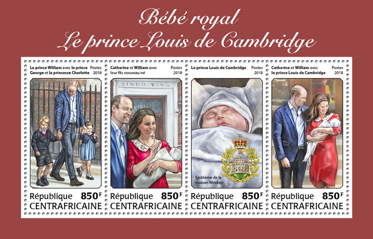 The Royal Baby - Issue of Central African republic postage stamps