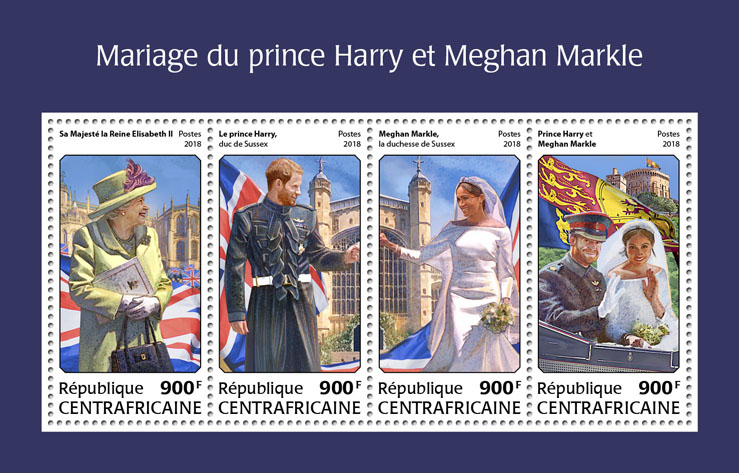 Wedding of Prince Harry and Meghan Markle - Issue of Central African republic postage stamps