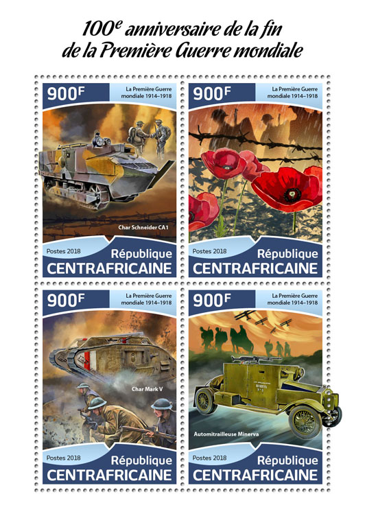 First World War - Issue of Central African republic postage stamps