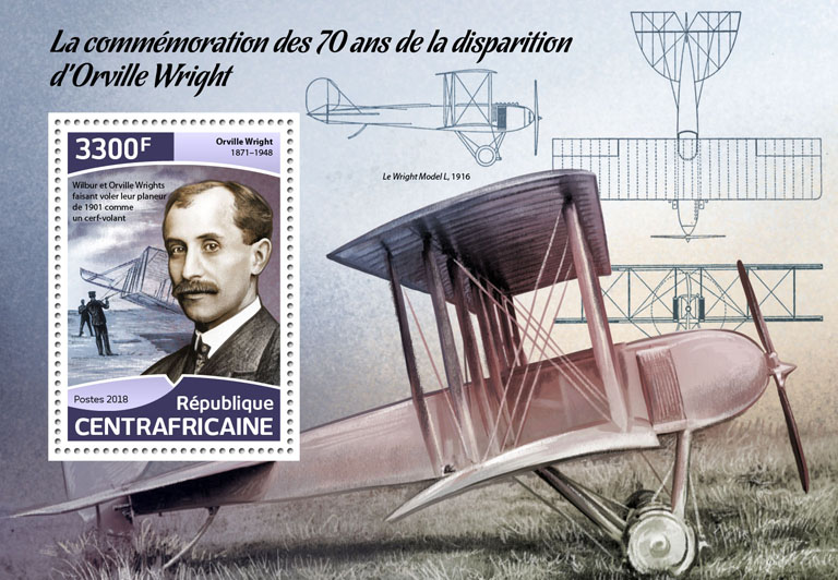 Orville Wright - Issue of Central African republic postage stamps