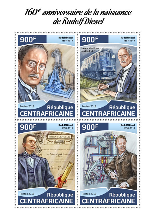 Rudolf Diesel - Issue of Central African republic postage stamps