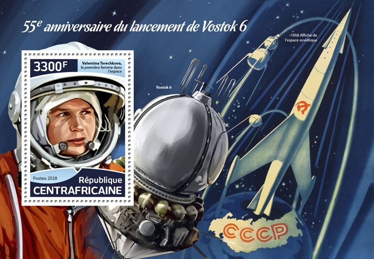 Vostok 6 - Issue of Central African republic postage stamps