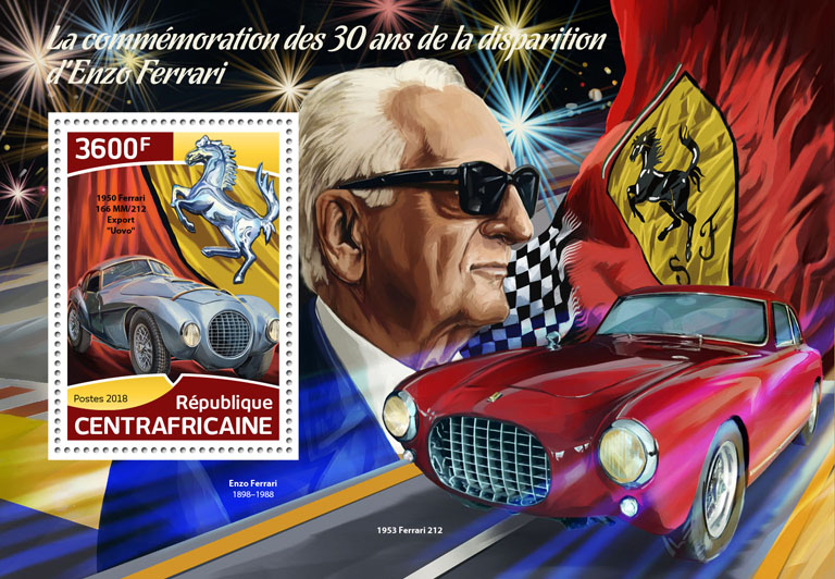 Enzo Ferrari - Issue of Central African republic postage stamps