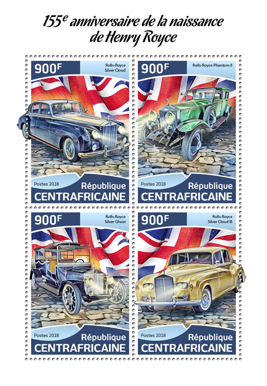 Henry Royce - Issue of Central African republic postage stamps
