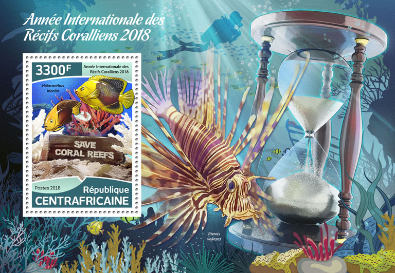 Year of Reef 2018 - Issue of Central African republic postage stamps