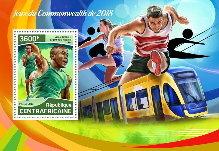 Commonwealth Games 2018 - Issue of Central African republic postage stamps