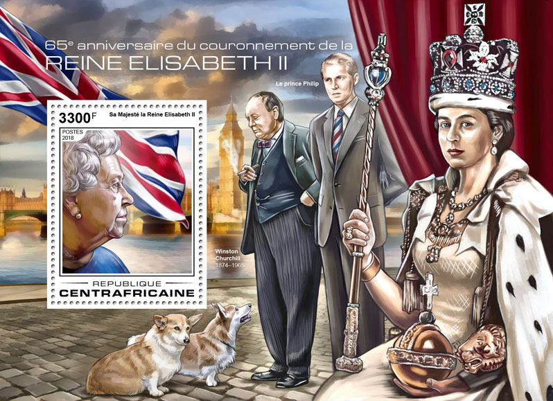 Queen Elizabeth II - Issue of Central African republic postage stamps
