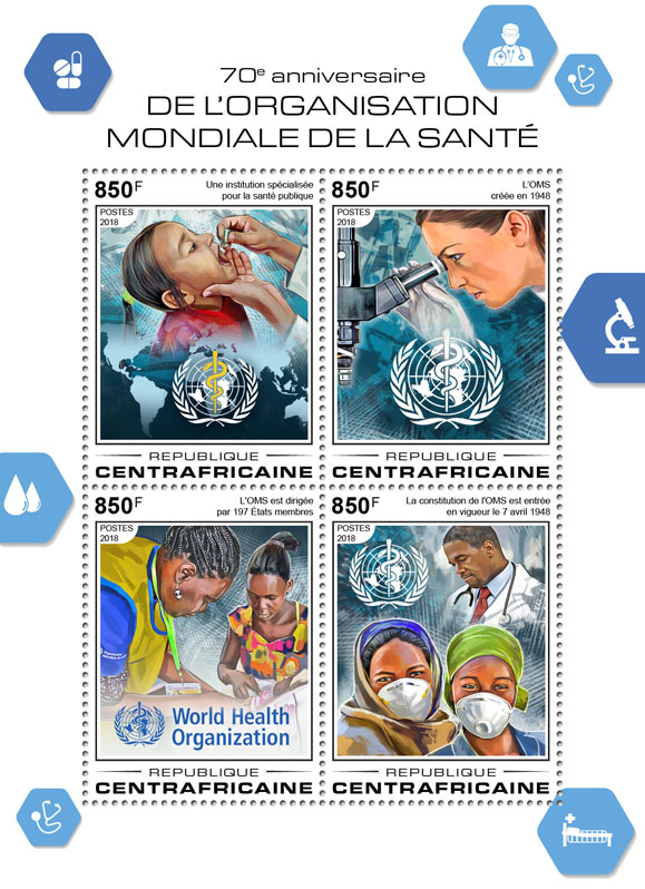 World Health Organization - Issue of Central African republic postage stamps