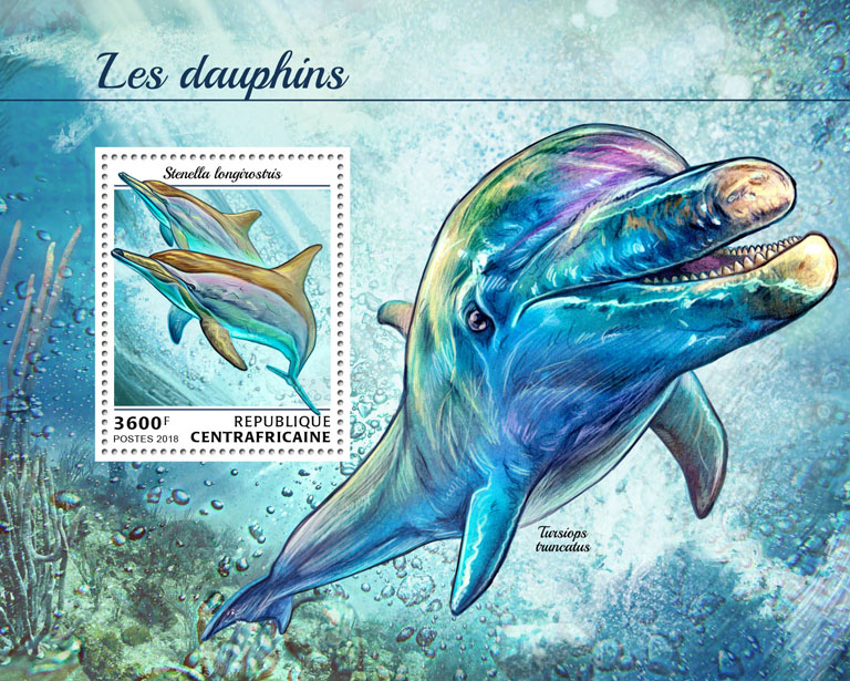 Dolphins - Issue of Central African republic postage stamps