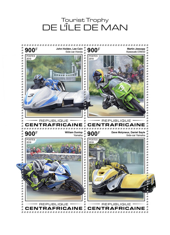 Isle of Man TT - Issue of Central African republic postage stamps