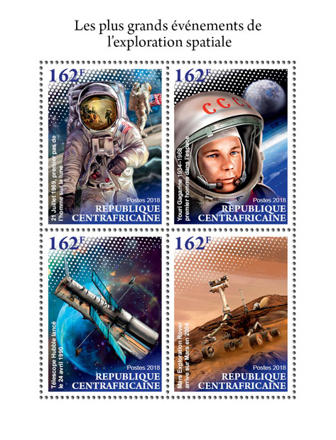 Space exploration - Issue of Central African republic postage stamps