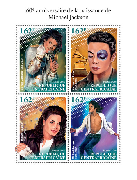 Michael Jackson - Issue of Central African republic postage stamps