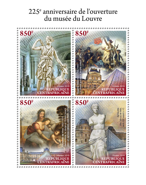 Louvre museum - Issue of Central African republic postage stamps