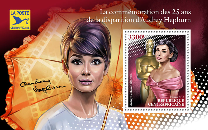 Audrey Hepburn - Issue of Central African republic postage stamps