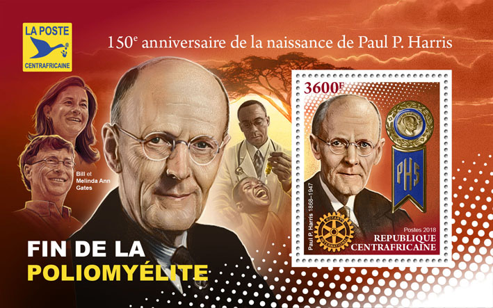 Paul P. Harris - Issue of Central African republic postage stamps