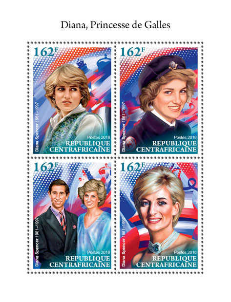 Diana - Issue of Central African republic postage stamps