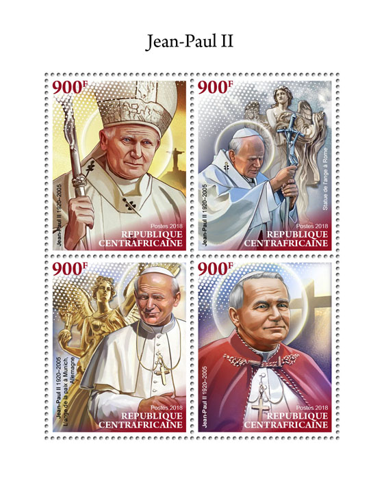 John-Paul II - Issue of Central African republic postage stamps