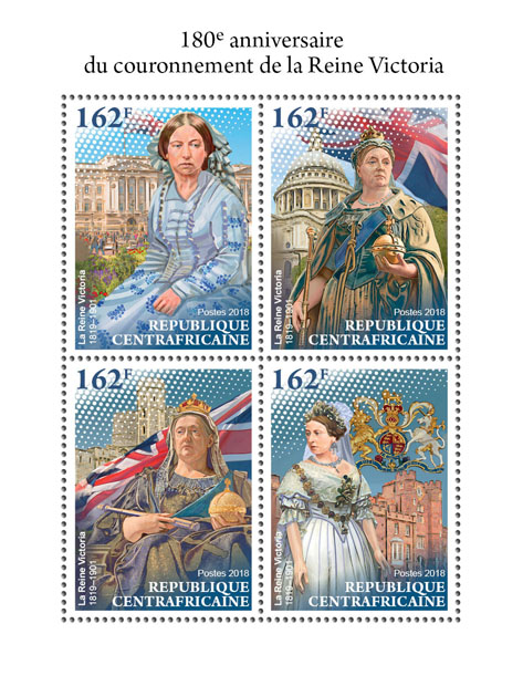 Queen Victoria - Issue of Central African republic postage stamps