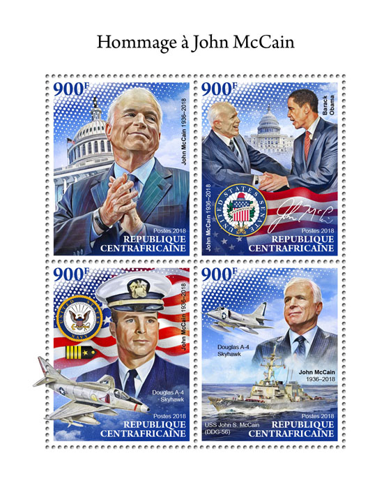 John McCain - Issue of Central African republic postage stamps